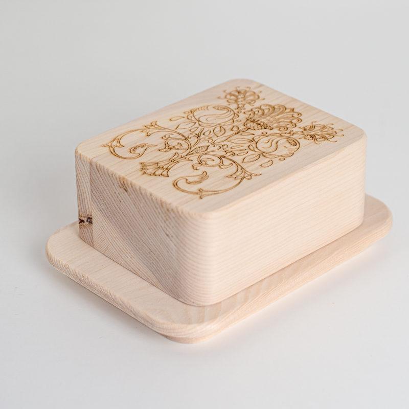 Butterdose Zirbenholz Blume