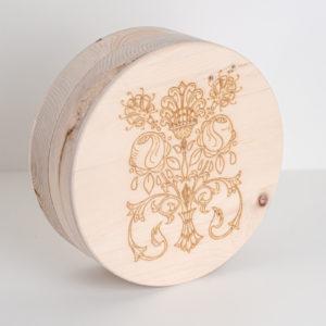 Schatulle Zirbenholz rund Blume